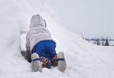 Ungt barnkrypning in i ett snöfortbyggande i en trädgård härligt behind skinn som 33 döljer för sökandevägg för skämtsam stående  Royaltyfria Foton