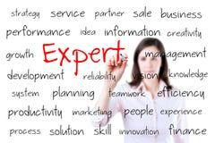 Ungt begrepp för expert för handstil för affärskvinna. Isolerat på vit. royaltyfri fotografi