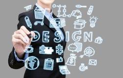 Ungt begrepp för idé för design för handstil för affärskvinna Royaltyfria Bilder
