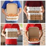 Ungt bud med pizzaaskar royaltyfri bild