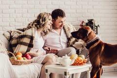 Ungt gift par med deras husdjur som sitter i morgonen i en hemtrevlig vardagsrum royaltyfria bilder