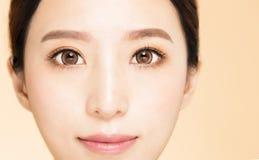 Ungt härligt kvinnaöga för Closeup royaltyfria foton