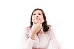 Ungt härligt tänka för affärskvinna. Royaltyfri Foto