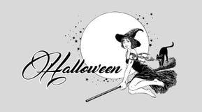 Ungt halloween häxaflyg på kvastvektor royaltyfria bilder