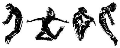 Ungt hoppa för dansare stock illustrationer