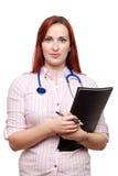 Ungt kvinnligt manipulerar, Vet, GP eller konsulenten royaltyfria bilder