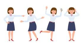 Ungt kvinnligt ropa för kontorsarbetare och att peka fingret, förvånat, förargat som chockas stock illustrationer