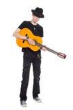 Ungt leka för gitarrist arkivfoto