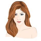 Ungt ljus för flicka - brun hårkvinna med gråa ögon Arkivfoto