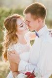 Ungt lyckligt precis gift par som poserar på överkanten av berget Arkivfoton