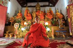 Ungt meditera för buddistisk munk Arkivfoto