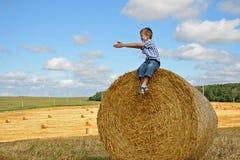 Ungt pojkesammanträde på höstack Arkivbilder