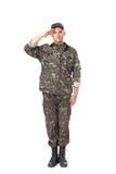 Ungt salutera för armésoldat Fotografering för Bildbyråer