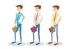 Ungt Set Hold Suitcase för chef för affärsman dokument, affärsman Collection royaltyfri illustrationer