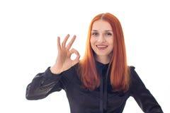 Ungt skratta tecken för kvinnashowok Fotografering för Bildbyråer