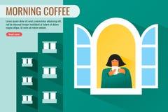 Ungt sunt kvinnadrinkkaffe i morgonen royaltyfri illustrationer
