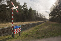 Unguarded railroad crossing Royalty Free Stock Photo