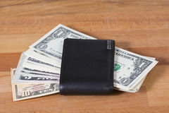 Unguarded wallet with lots of cash. Royalty Free Stock Photo