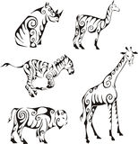 Ungulates animals in tribal style. Set of black and white vector illustrations. Tattoos Stock Photo