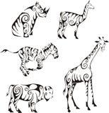 Ungulates animals in tribal style Stock Photo