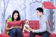 Unhöflicher Mann schlug seine Frau Lizenzfreies Stockfoto