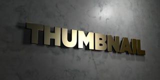 A unha do polegar - texto do ouro no fundo preto - 3D rendeu a imagem conservada em estoque livre dos direitos ilustração stock