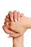 Unha. Mão da mulher. imagem de stock