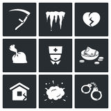 Unhappiness icons. Vector Illustration. Stock Images