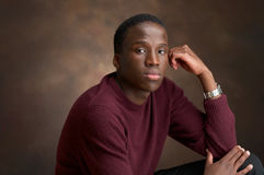Unhappy. Portrait of a young black man thinking Stock Photos