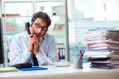 The unhappy angry call center worker frustrated with workload Royalty Free Stock Photos