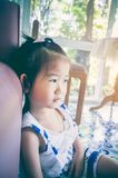 Unhappy asian girl sitting and looking aside while feeling sad. Unhappy asian girl sitting on sofa and looking aside while feeling sad in her home. Asian child Stock Images