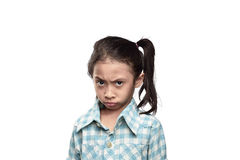 Unhappy asian little girl with sad expression Stock Photos