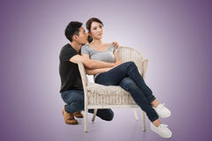 Unhappy Asian young couple Royalty Free Stock Photos