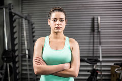 Unhappy athletic woman crossing arms Stock Photo