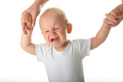 Unhappy baby crying Royalty Free Stock Photography