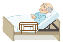 Unhappy bedridden senior men white background Stock Photos