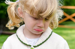 Unhappy blond girl. Unhappy crying beautiful blond girl Stock Images
