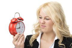 Unhappy blond woman Stock Images
