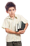 Unhappy boy with books Royalty Free Stock Image