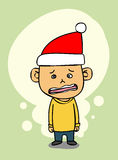 Unhappy boy in Christmas day Royalty Free Stock Photos