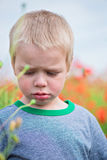 Unhappy boy in field with red poppies Royalty Free Stock Image