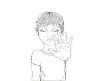 Unhappy boy showing hand sign enough. Against violence. Stop the violence. Stock Photos