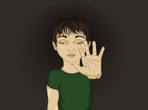 Unhappy boy showing hand sign enough. Against violence.Vector Stock Photography