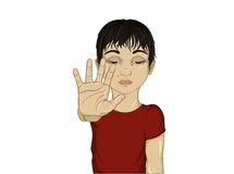 Unhappy boy showing hand sign enough. Against violence. Vector Stock Photo