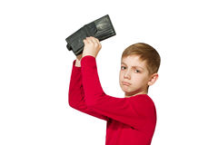 Unhappy boy showing old empty wallet isolated on white Royalty Free Stock Image