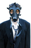 Unhappy Boy in suit and gas mask 1. Image of unhappy boy on true white background, wearing oversized suit and gas mask Stock Images