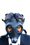 Unhappy Boy in suit and gas mask 1. Image of unhappy boy on true white background, wearing oversized suit and gas mask Royalty Free Stock Photography