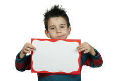 Unhappy Boy who holds white board. Stock Photos