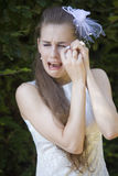 Unhappy Bride Crying Royalty Free Stock Photo
