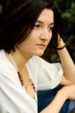 Unhappy brunet woman. Closeup portrait of unhappy brunet woman Royalty Free Stock Photos